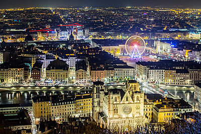 Town of Lyon at night - p910m1467721 by Philippe Lesprit