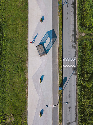 Aerial view of gardens and road - p1108m2110504 by trubavin