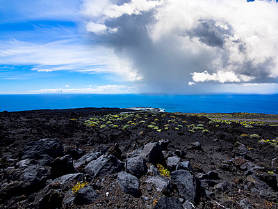 Spain, Canary Islands, La Palma, Atlantic Ocean, Thunderclouds near Faro de Fuencaliente - p300m949712f by Martin Moxter
