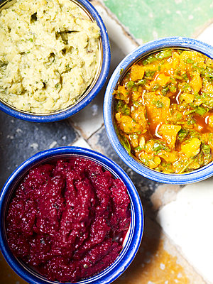 Three side dishes in bowls, Morocco, North Africa - p349m2167705 by Polly Wreford