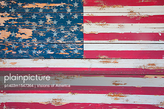 American Flag On Wood, Maine - p1403m1547364 by Visions of America