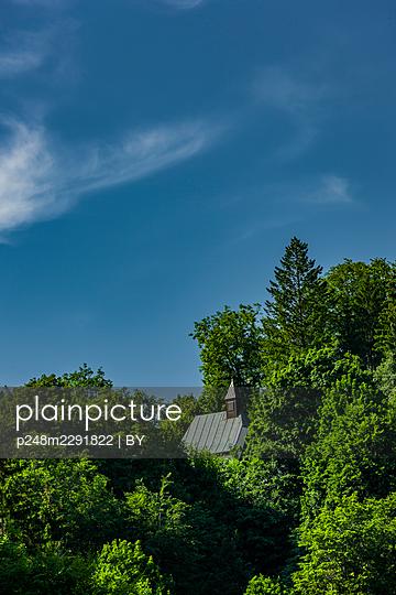 Dach einer Burgkapelle im Wald - p248m2291822 von BY