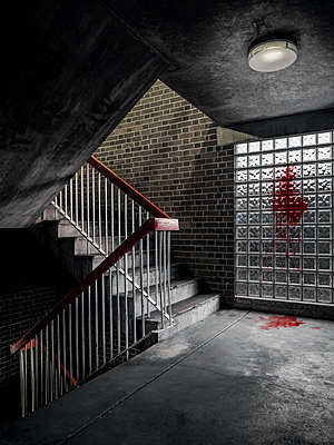 Great Britain, Blood in the stairwell - p1280m2237789 by Dave Wall