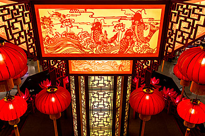 Ornate lanterns in shrine - p555m1420191 by Inti St Clair photography