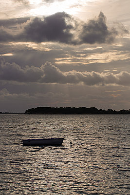 Boat silhouette on lake - p1623m2216619 by Donatella Loi