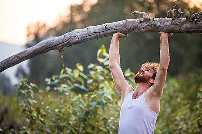 man shoulder presses a fallen tree outside in nature's gym. - p1166m2147240 by Cavan Images