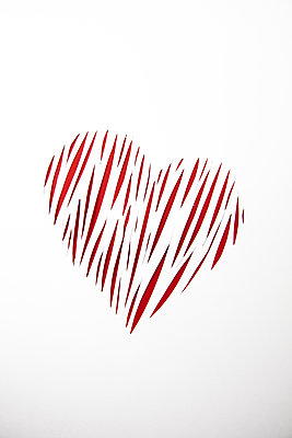 Heart of Red Paper Cut Slices  - p1248m2210898 by miguel sobreira