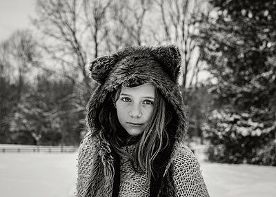 Girl in Animal Hat - p1503m2020428 by Deb Schwedhelm