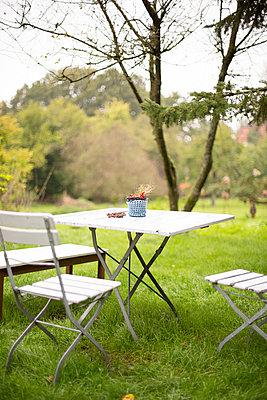 Gartenmöbel auf Wiese - p432m939230 von mia takahara