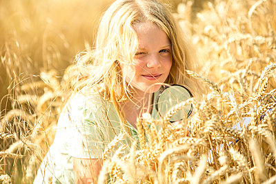 Little girl examining wheat ears in field, with magnifying glass - p300m2160752 von Fotoagentur WESTEND61