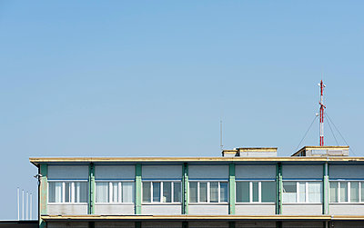 Part of the sixties airport building, OstendÐBruges International Airport, Oostende, West-Vlaanderen, Belgium - p429m2004405 by Mischa Keijser