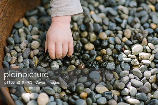 Toddler hand picking up small stones - p1166m2191763 by Cavan Images