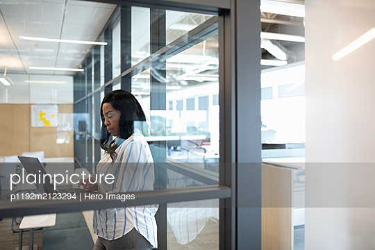 Portrait of mid adult businesswoman in office using laptop - p1192m2123294 by Hero Images