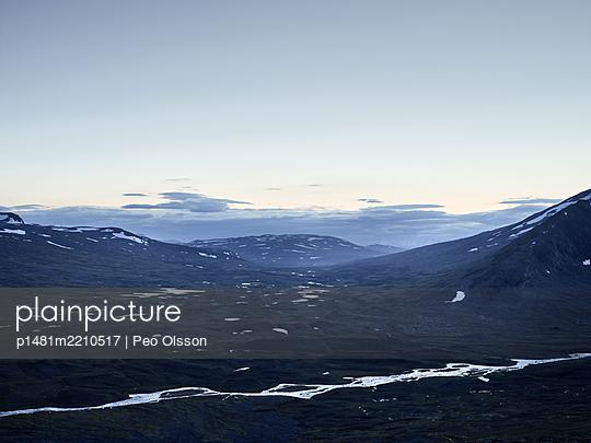 Snowcapped mountain landscape, Lapland, Sweden - p1481m2210517 by Peo Olsson
