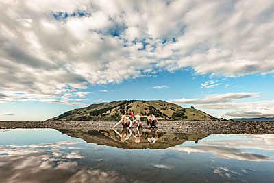 Three children exploring at low tide framed by mountain and reflection - p1166m2130646 by Cavan Images