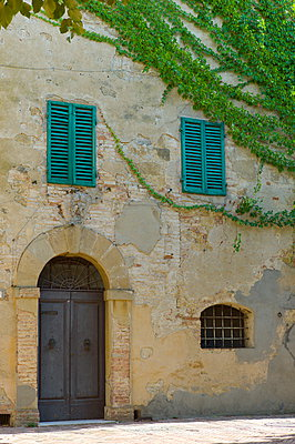 Traditional house with green window shutters and covered in Virginia Creeper, in hill town of Monticcheillo, Val D'Orcia area of Tuscany, Italy - p871m895814 by Tim Graham