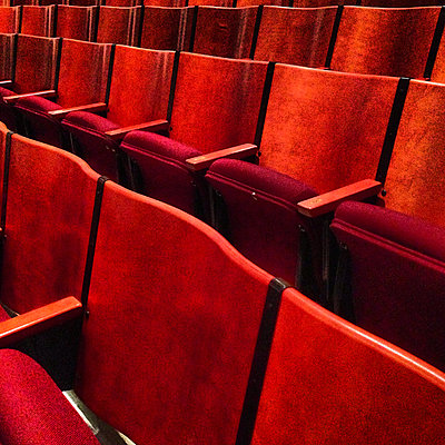 Rows of Red Theater Seating - p694m2218942 by Spencer Jones