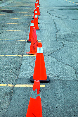 Traffic cones blocking parking spaces - p8360065 by Benjamin Rondel
