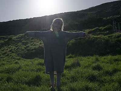 Girl on meadow - p945m2013387 by aurelia frey
