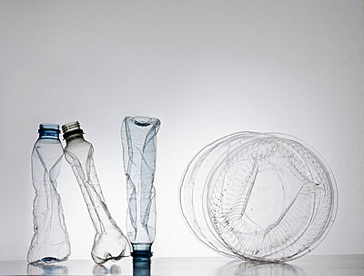 'No' sign made from plastic bottles and container - p301m714379f by Larry Washburn