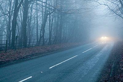 Car headlights on foggy road - p3883227 by Bill Davies