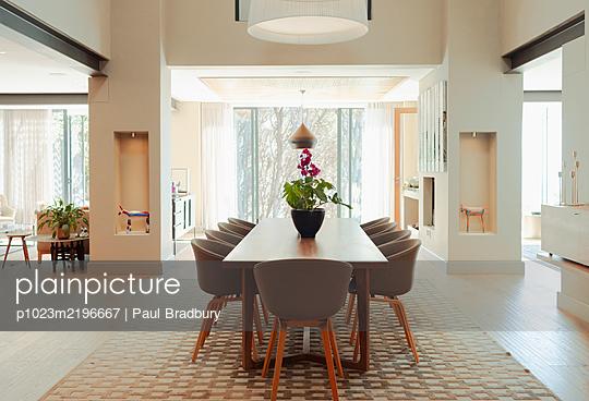 Modern home showcase interior dining room - p1023m2196667 by Paul Bradbury
