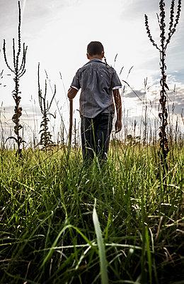 Boy in Field - p1019m1475131 by Stephen Carroll
