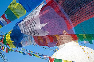 Kathmandu, Prayer flags of Boudinath Stupa one of the holiest Buddhist sites in Kathmandu - p6521232 by Mark Hannaford