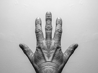 Symmetrical male hand with three fingers and two thumbs. From art project Symmetry - p1433m2150481 by Wolf Kettler