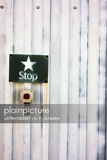 Stop sign and buttons - p378m1002267 by A.F. Scheidler