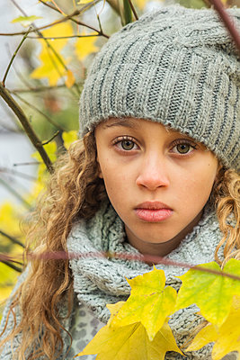 Portrait of a girl in autumn - p1323m1190239 by Sarah Toure