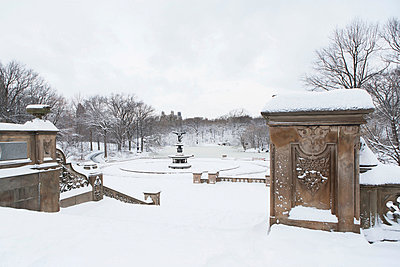 Steps in snowy urban park - p924m807170f by Ditto