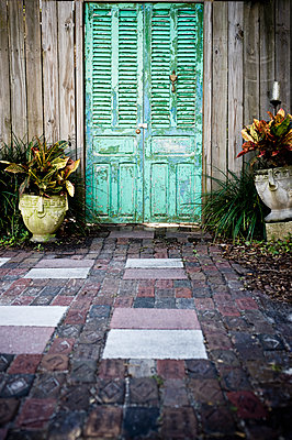 Weathered Green Door - p1100m2090739 by Mint Images