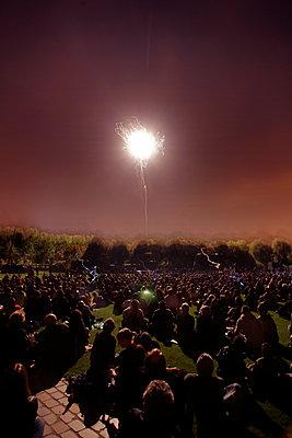 Pyrotechnic show at the Parc de la Villette, Paris - p1028m1112750 by Jean Marmeisse