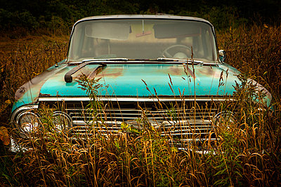 Vintage car parked in tall grass - p555m1459354 by Chris Clor
