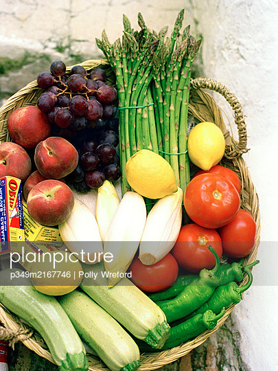 Basket of assorted fruit and vegetables, pain - p349m2167746 by Polly Wreford