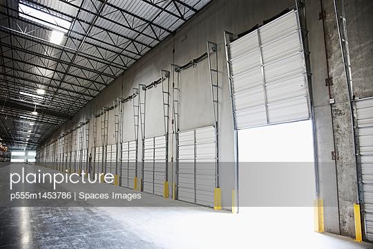 Open door at loading dock in warehouse