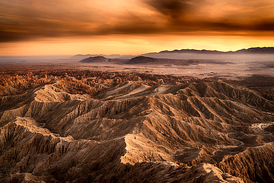 Borrego Badlands at sunset - p1154m1217571 by Tom Hogan