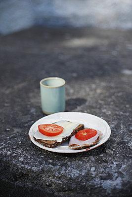Sandwiches on plate - p312m956784f by Johan Odmann
