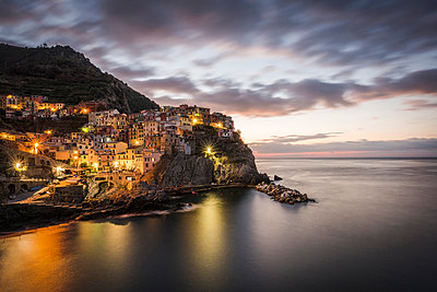Europe, Italy,Liguria. Cinque Terre, Manarola at dawn. - p651m2034070 by Catherina Unger