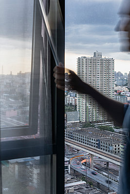 View from a hotel room in Bangkok - p728m2206023 by Peter Nitsch