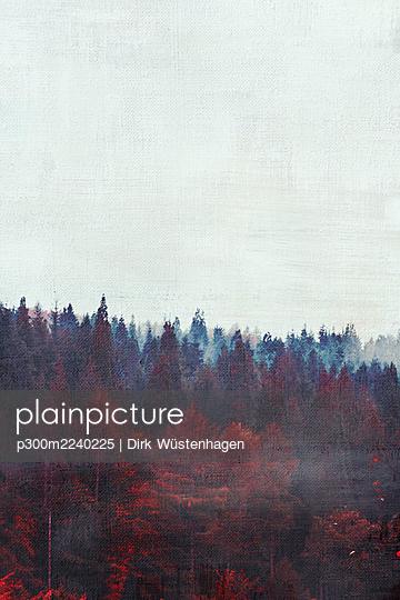 Clear sky over foggy autumn forest - p300m2240225 by Dirk Wüstenhagen