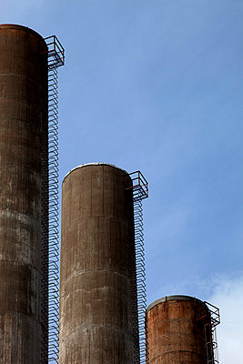 Close-up Of Cement Silos - p816m913881 by Roger Hardy
