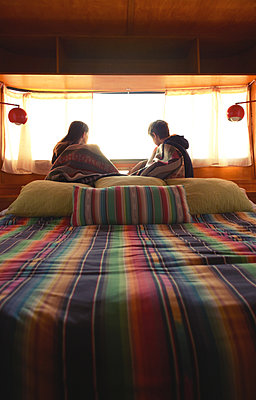 Boy and Girl Looking out Camper Window - p1617m2191726 by Barb McKinney