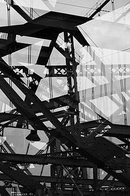 Multiple exposure of steel beams of bridge - p301m960794f by Michael Mann