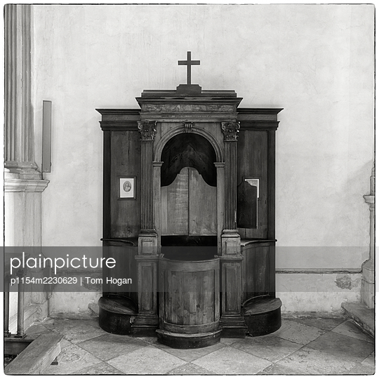 Italy, Venice, Confessional with Cross - p1154m2230629 by Tom Hogan