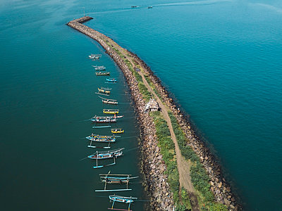 Aerial view of harbor mole - p1166m2094246 by Cavan Images