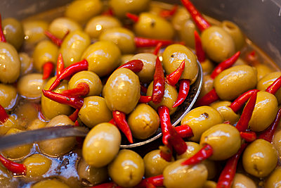 Olives and Chili - p1405m2126730 by jacquelinemccullough