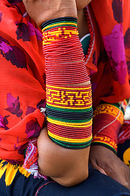 Panama, Panama City, Kuna Indian, Traditional Beaded Arm Bands, Mola Blouse, Textile Art - p6511231 by John Coletti photography