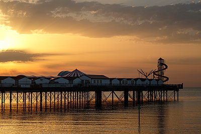 Pier at sunset - p1228m2013350 by Benjamin Harte